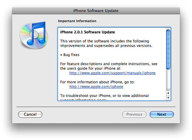 iPhone 2.0.1 update